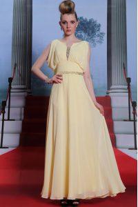Scoop Sleeveless Chiffon Prom Evening Gown Beading Side Zipper