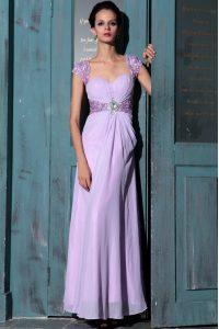 Stylish Lavender Organza Zipper Prom Dress Sleeveless Floor Length Beading