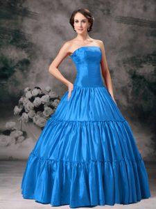 Dreamy Aqua Blue Strapless Taffeta Ruched Zipper-up Quinceanera Gown