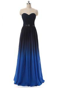 Blue And Black Lace Up Sweetheart Ruching and Belt Evening Dress Chiffon Sleeveless