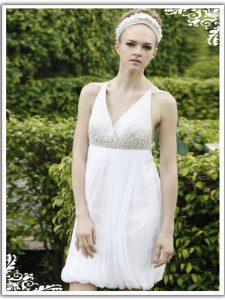 Hot Selling White Chiffon Criss Cross V-neck Sleeveless Knee Length Prom Evening Gown Ruching