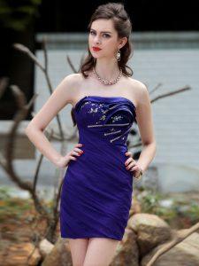 Custom Designed Sleeveless Backless Mini Length Beading and Ruching