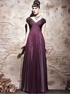 Fantastic Purple Chiffon Side Zipper Homecoming Dress Cap Sleeves Floor Length Beading and Ruching