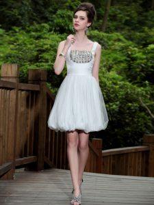 White Sleeveless Knee Length Beading Side Zipper Prom Party Dress