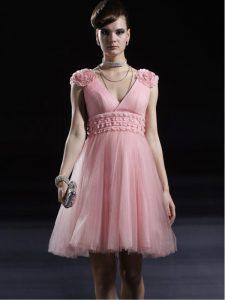 Spectacular Baby Pink Column/Sheath V-neck Sleeveless Tulle Knee Length Zipper Appliques Prom Dresses