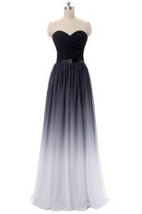 Fashion Empire Evening Dress Black Sweetheart Chiffon Sleeveless Floor Length Lace Up