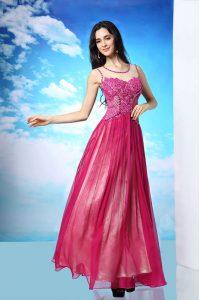 Dynamic Fuchsia Scoop Side Zipper Beading Dress for Prom Sleeveless
