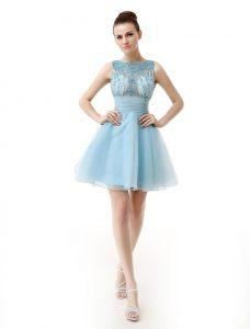 Knee Length Light Blue Prom Dresses Scoop Sleeveless Zipper
