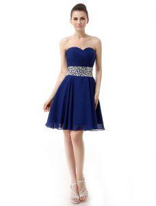 Sweetheart Sleeveless Chiffon Prom Party Dress Beading and Ruffles Lace Up