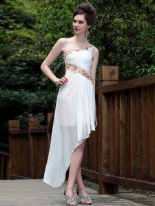 New Arrival One Shoulder Sleeveless Appliques Side Zipper Evening Dress