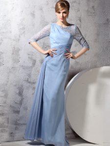 Light Blue Column/Sheath Scoop Half Sleeves Chiffon Ankle Length Zipper Beading and Ruching Evening Dress