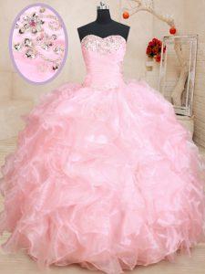 Baby Pink Organza Lace Up Sweetheart Sleeveless Floor Length 15th Birthday Dress Beading and Ruffles