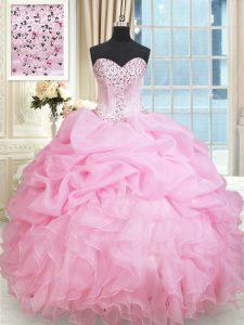 Custom Fit Pick Ups Sweetheart Sleeveless Lace Up Vestidos de Quinceanera Rose Pink Organza