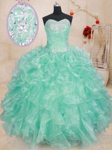 Romantic Ball Gowns Vestidos de Quinceanera Apple Green Sweetheart Organza Sleeveless Floor Length Lace Up