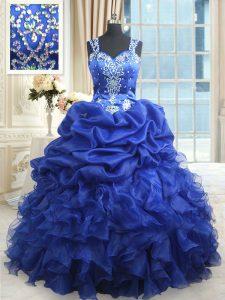 Sexy Pick Ups Floor Length Royal Blue Quince Ball Gowns Straps Sleeveless Zipper