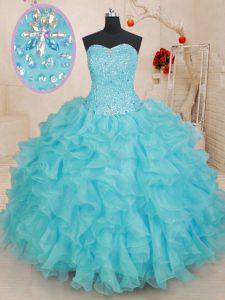 Aqua Blue Ball Gowns Beading and Ruffles 15th Birthday Dress Lace Up Organza Sleeveless Floor Length