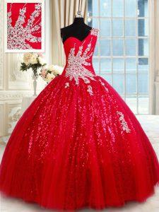 One Shoulder Red Sleeveless Beading and Appliques Floor Length Vestidos de Quinceanera