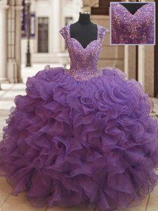 Straps Beading and Ruffles Quinceanera Dress Eggplant Purple Zipper Cap Sleeves Floor Length