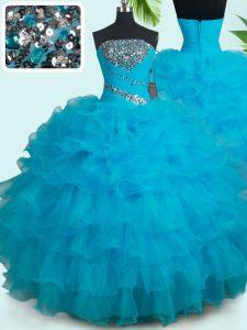 Custom Design Floor Length Baby Blue Quinceanera Dress Organza Sleeveless Beading