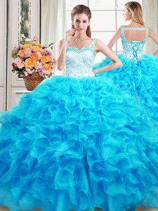 Straps Baby Blue Sleeveless Floor Length Beading and Ruffles Lace Up Sweet 16 Dress