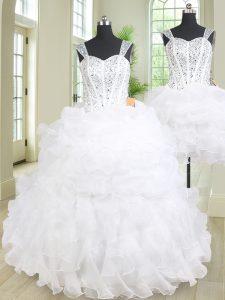 Fabulous Three Piece Straps Beading and Ruffles Sweet 16 Dresses White Lace Up Sleeveless Floor Length