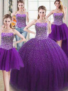 Four Piece Floor Length Purple 15th Birthday Dress Tulle Sleeveless Beading