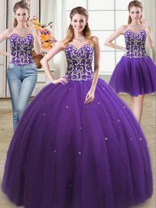 Three Piece Purple Sweetheart Neckline Beading Sweet 16 Quinceanera Dress Sleeveless Lace Up