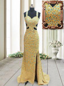 Gold Column/Sheath Chiffon Straps Sleeveless Beading Backless Prom Party Dress Brush Train