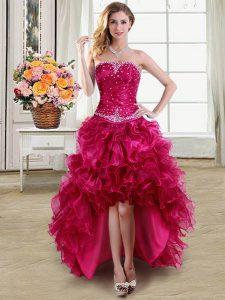 Custom Design Sleeveless Beading and Ruffles Lace Up Prom Dress