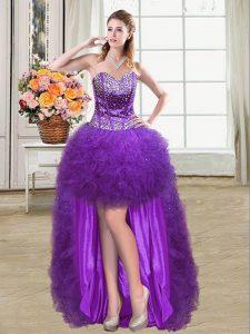 Dazzling Sleeveless Mini Length Beading and Ruffles Lace Up Prom Dresses with Eggplant Purple