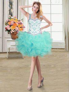 Straps Sleeveless Organza Evening Dress Beading and Ruffles Lace Up