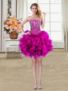 Sleeveless Lace Up Mini Length Beading and Ruffles Evening Dress