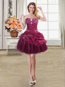 Cheap Pick Ups Sweetheart Sleeveless Lace Up Homecoming Dress Burgundy Organza