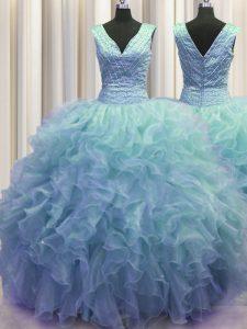V Neck Zipper Up Sleeveless Ruffles Zipper Quinceanera Dresses