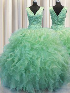 Graceful V Neck Zipper Up Sleeveless Beading and Ruffles Zipper Quinceanera Gown