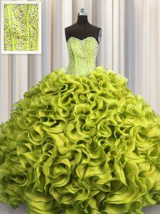 Visible Boning Olive Green Lace Up 15th Birthday Dress Beading and Ruffles Sleeveless Floor Length