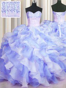 Romantic Two Tone Visible Boning Multi-color Sleeveless Beading and Ruffles Floor Length Sweet 16 Dress