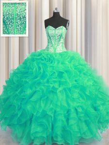 New Style Visible Boning Beaded Bodice Turquoise Sleeveless Floor Length Beading and Ruffles Lace Up 15th Birthday Dress