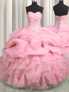 Pick Ups Visible Boning Sweetheart Sleeveless Lace Up 15th Birthday Dress Rose Pink Organza
