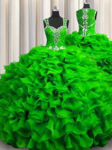 Zipple Up See Through Back Floor Length Sweet 16 Quinceanera Dress Straps Sleeveless Zipper