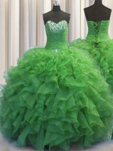 Top Selling Beaded Bust Floor Length Green Sweet 16 Dress Organza Sleeveless Beading and Ruffles