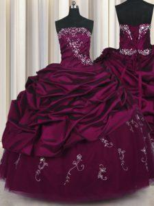 New Style Pick Ups Floor Length Purple Sweet 16 Dress Strapless Sleeveless Lace Up