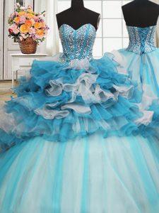 Visible Boning Beaded Bodice Sleeveless Beading and Ruffled Layers Lace Up Sweet 16 Dresses