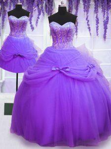 Three Piece Sweetheart Sleeveless Lace Up Sweet 16 Dress Purple Tulle