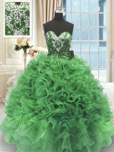 Adorable Floor Length Green Sweet 16 Quinceanera Dress Organza Sleeveless Beading and Ruffles