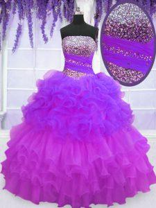 Elegant Pick Ups Ruffled Floor Length Multi-color Vestidos de Quinceanera Strapless Sleeveless Lace Up