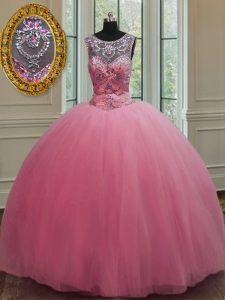 Noble Scoop Sleeveless Lace Up Floor Length Beading Vestidos de Quinceanera