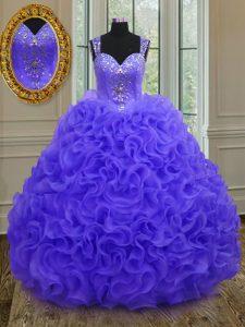 Dramatic Straps Floor Length Ball Gowns Sleeveless Purple 15 Quinceanera Dress Zipper