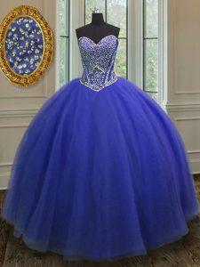 Top Selling Royal Blue Sleeveless Beading Floor Length Vestidos de Quinceanera
