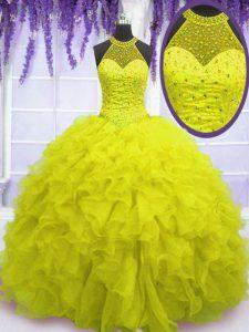 High Class Yellow High-neck Lace Up Beading and Ruffles 15th Birthday Dress Sleeveless